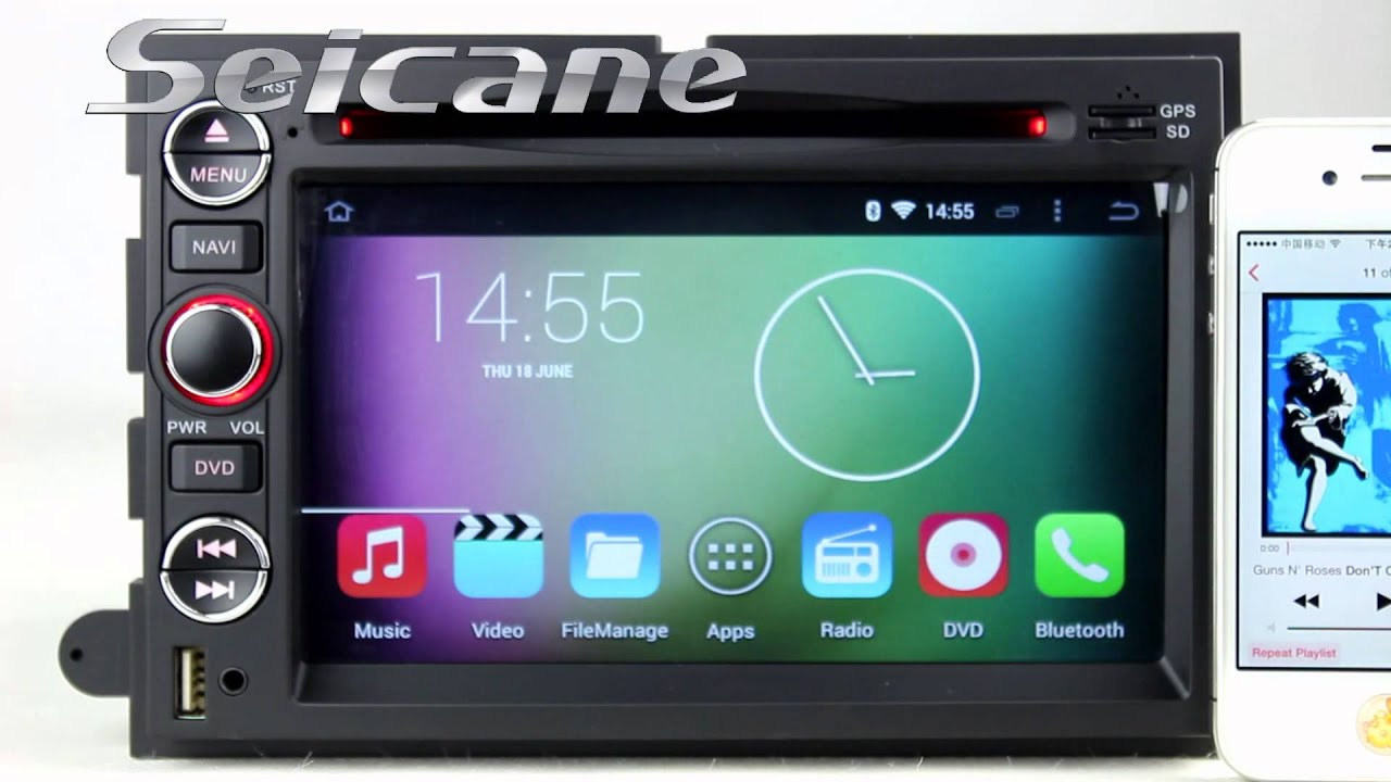 Pure android 4 4 2005 2006 2007 2008 2009 ford mustang aftermarket car stereo sat nav gps dvd player youtube