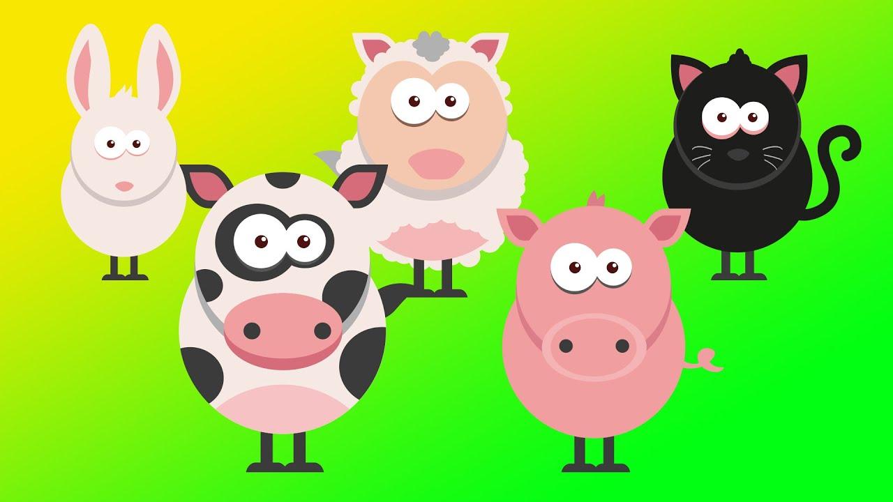 animales de granja para los niños, perros, ovejas, pato, cerdo, vaca ...