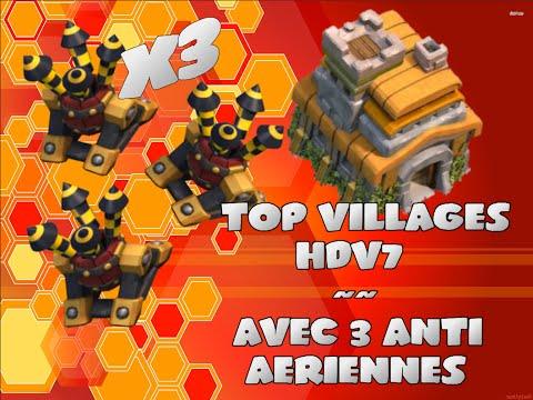 TOP Villlages HDV7 Avec 3 ANTI Aériennes !!! ~{ Clash of Clans }~