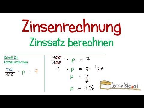 Zinsenrechnung - Berechnung Des Zinssatzes