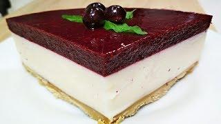 Торт без выпечки круче чем Птичье молоко! Всего несколько действий! Торт суфле со смородиной.