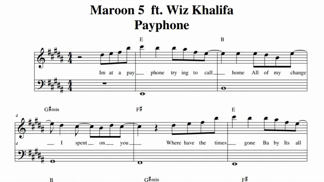 Maroon 5 ft. Wiz Khalifa - Payphone Music sheet - YouTube