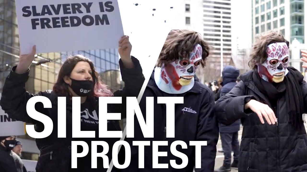 Vancouver anti-lockdown protesters shock people with creepy silent march -  YouTube