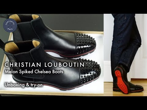 Christian Louboutin Men's Melon Spiked Chelsea Leather Boots: Unboxing & try-on
