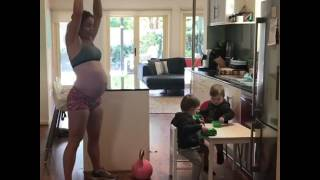 Mom works out with her babies