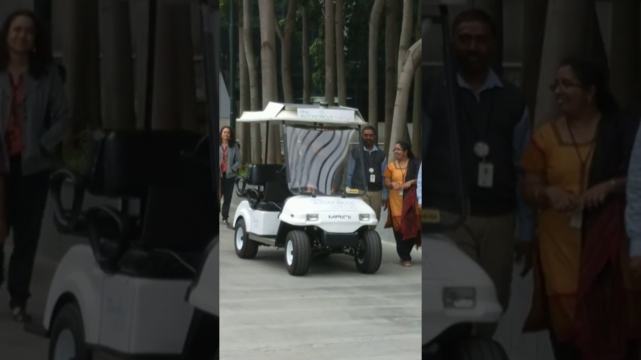 Infosys self driving electric golf cart prototype taking the ceo for a ride