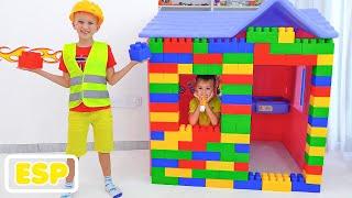 Vlad y Niki paseo en avión de juguete y jugar con juguetes