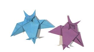 Halloween Origami Owl - Easy Origami Tutorial - How to make an easy origami owl