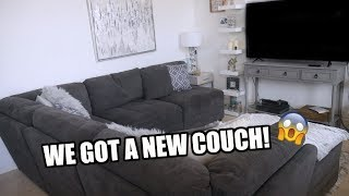WE GOT A NEW COUCH + REDECORATING OUR LIVING ROOM!