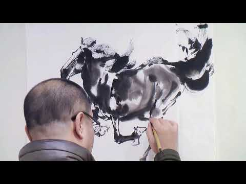 Chinese Horse Ink Painting by Master Artist