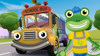 Wheels on the Bus RAINBOW! Gecko Songs! Gecko's Garage | Nursery Rhymes & Kids Songs | Kids Learning