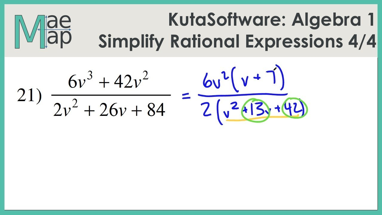 KutaSoftware: Algebra 1- Simplifying Rational Expressions Part 4 ...