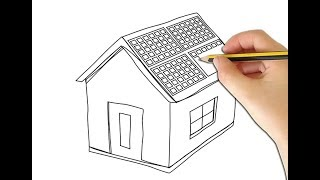 How to Draw Solar Panels With House ( Sun Panels ) Solar Panel Drawing and House Coloring Pages