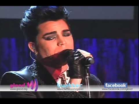 "Adam Lambert performs ""Music Again"" at the 21st Annual GLAAD Media Awards in Los Angeles"