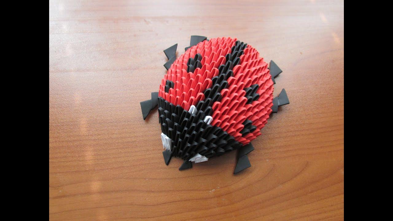 3D Origami Lady Bug Tutorial - YouTube - photo#48