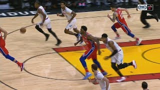 Hassan Whiteside Draws Foul For Punching Himself In The Face! Miami Heat vs Philadelphia 76ers!