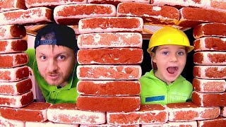 Timko and daddy build a playhouse from bricks | Pretend Play as a builder