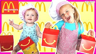 Pretend Play McDonald's Happy Meal | Kin Tin Teaches Baby How To Cook McDonald's