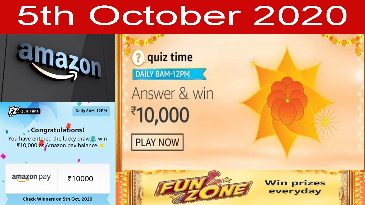 Amazon Quiz Answers Today 5 October 2020 Win Rs 10000 Amazon Daily Quiz Answers Today Amazon Youtube