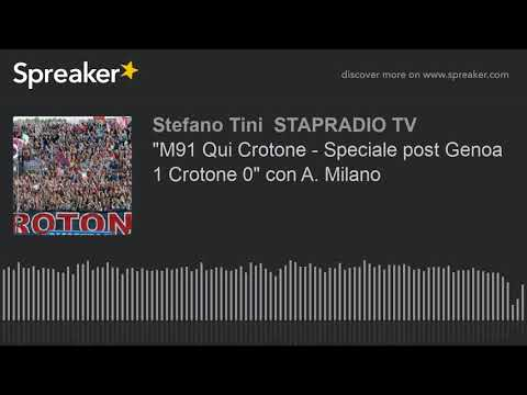 """""""M91 Qui Crotone - Speciale post Genoa 1 Crotone 0"""" con A. Milano"""