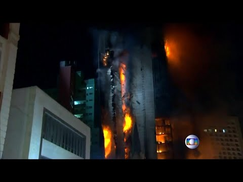 Collapse of burning building in Sao Paolo caught on camera