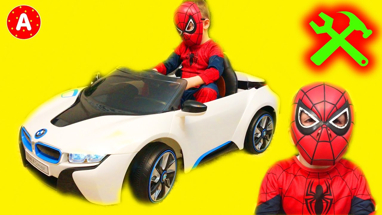 Superhero Spider Man Mechanic Adam Unboxing Electric Car Toy Bmw
