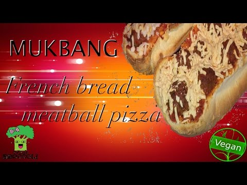 Mukbang | French Bread Meatball Pizza | Vegan | Ep:767