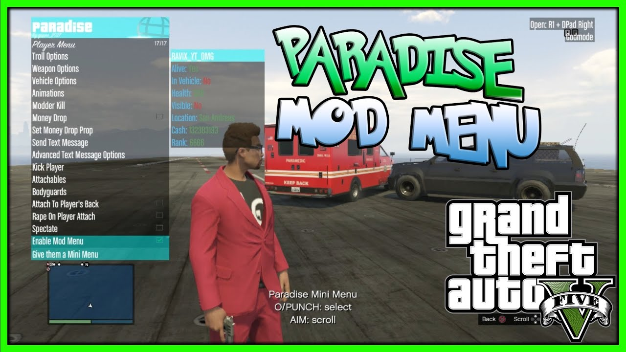 GTA 5 ONLINE - PARADISE SPRX Update | Mini Mod Menu for all Player  [1 26/1 27/PS3] (GTA V MODS)