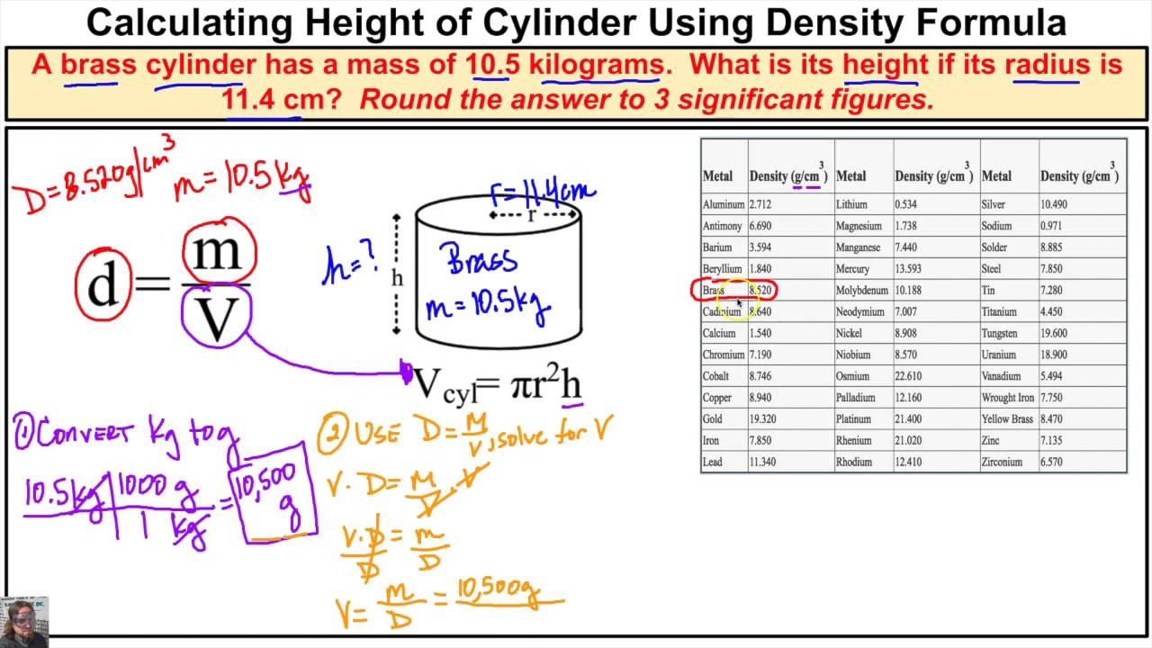How To Calculate The Height Of A Cylinder Using The Density Formula