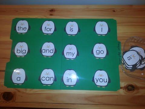 Penguin Sight Words File Folder Game- Kindergarten- Fun Learning!