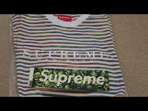 Supreme SS18 Week 1 Pickup/Unboxing Static Stripe Top + Skull BOGO Sticker