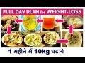 FULL DAY PLAN for WEIGHT-LOSS , 1 महीने में 10kg घटाये, 1 month  diet plan, dr shalini recipes
