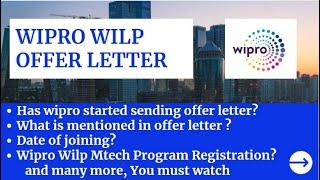 Wipro Wilp Offer Letter || Wipro Enrollment Letter