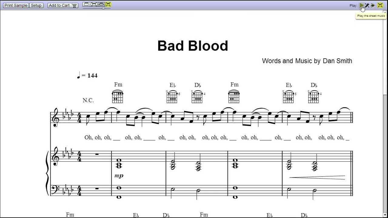 """""""Bad Blood"""" by Bastille - Piano Sheet Music (Teaser) - YouTube"""