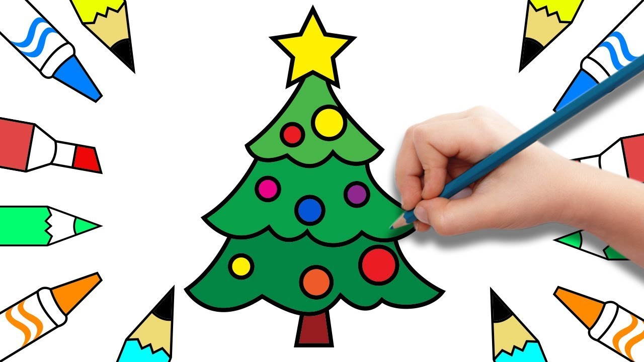 How to draw Christmas tree and Santa Claus | Coloring Pages for Kids ...