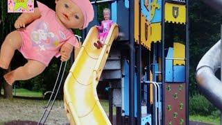 Катя Кукла  Беби Борн на детской площадке  Baby Born Doll и коляска для Кукол Катя на горке