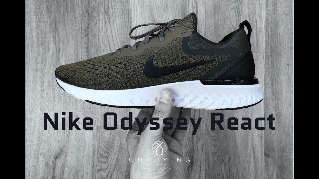 purchase cheap ea616 7c44e Nike Odyssey React 'Medium olive  black-sequoia    UNBOXING   ON FEET    running shoes   2018   4K