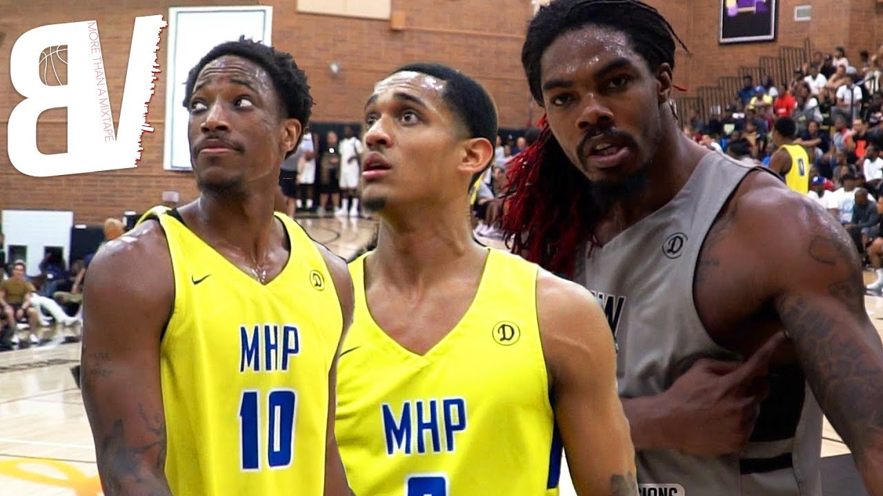 demar-derozan-jordan-clarkson-team-up-vs-drew-league-sharpshooters-full-game-highlights