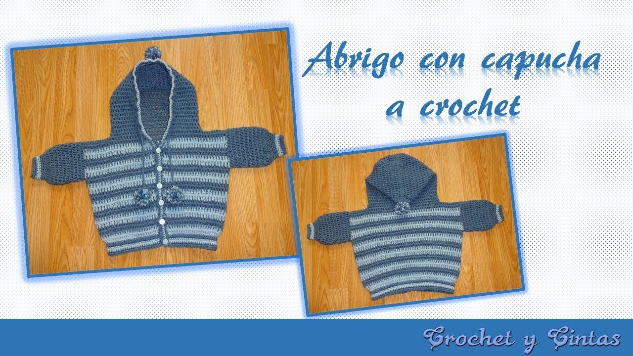 Abrigo o saquito con capucha para bebé a crochet - ganchillo Parte 3 ...