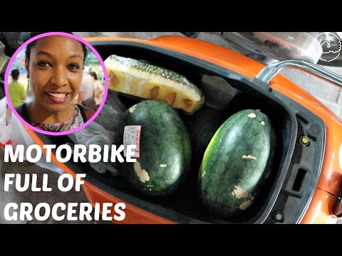 Where Do Groceries Go When Driving a Motorbike?  | Life Abroad | charlycheer