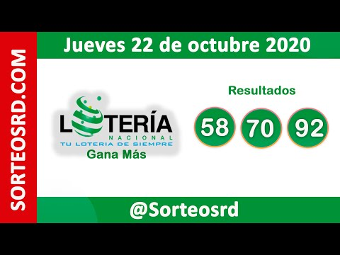 Loteria Nacional Gana Más En VIVO   / Jueves 22 De Octubre 2020
