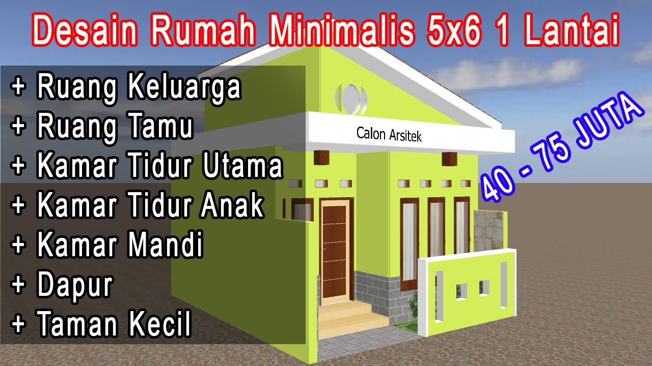 Desain Rumah 5x6 Minimalis Modern Kisaran 40 75 Jt - YouTube