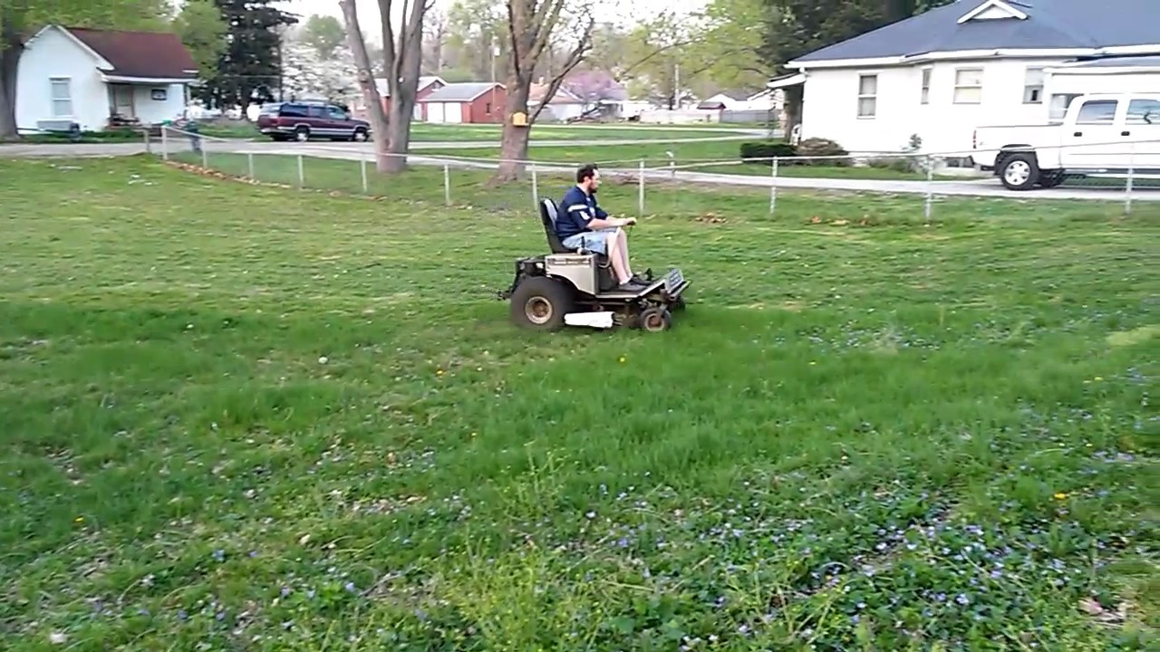 Mowing on a Dixie Chopper