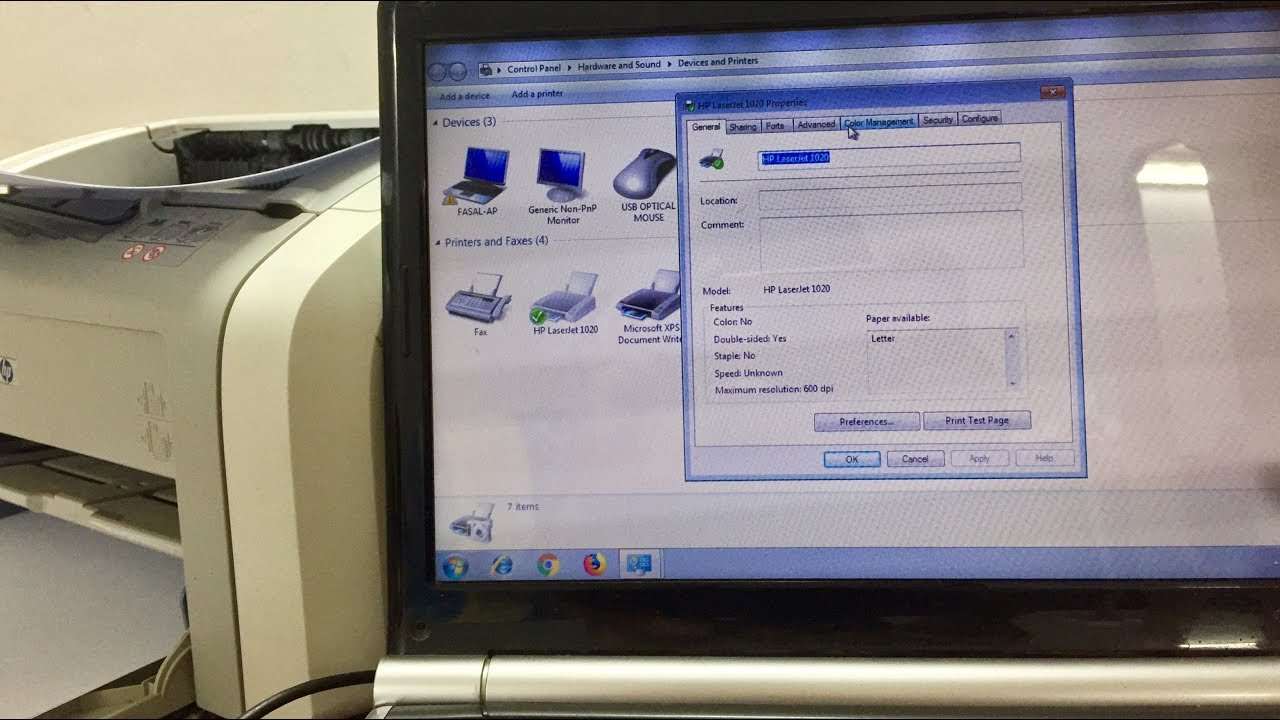 Hp Laserjet 1020 Printer Installation On Windows 7 Youtube