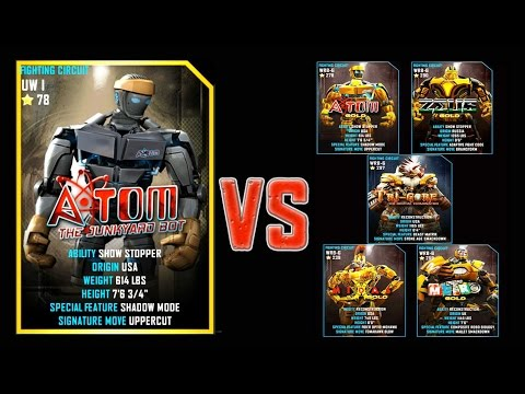 Real Steel WRB FINAL Atom VS GOLD ROBOTS Series of fights NEW ROBOT (Живая Сталь)