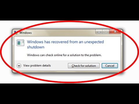 windows has recovered from an unexpected shutdown - blue screen