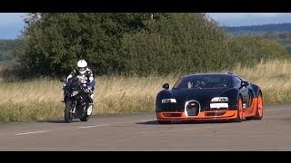 Ultra HD 4K Rolling RACE BMW S1000RR Vs Bugatti Veyron Vitesse -presented By Samsung