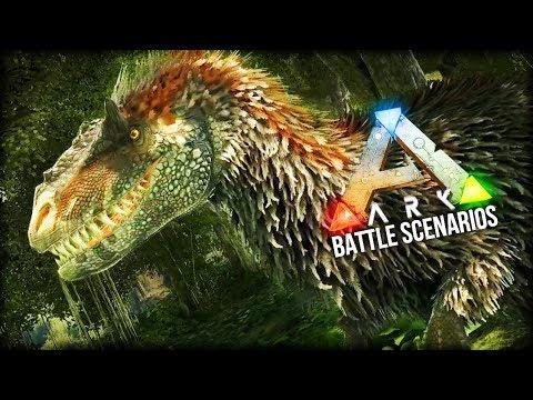 Ark Dino Battle Scenarios | YUTYRANNUS AMBUSHES THE GIANT SLOTHS!