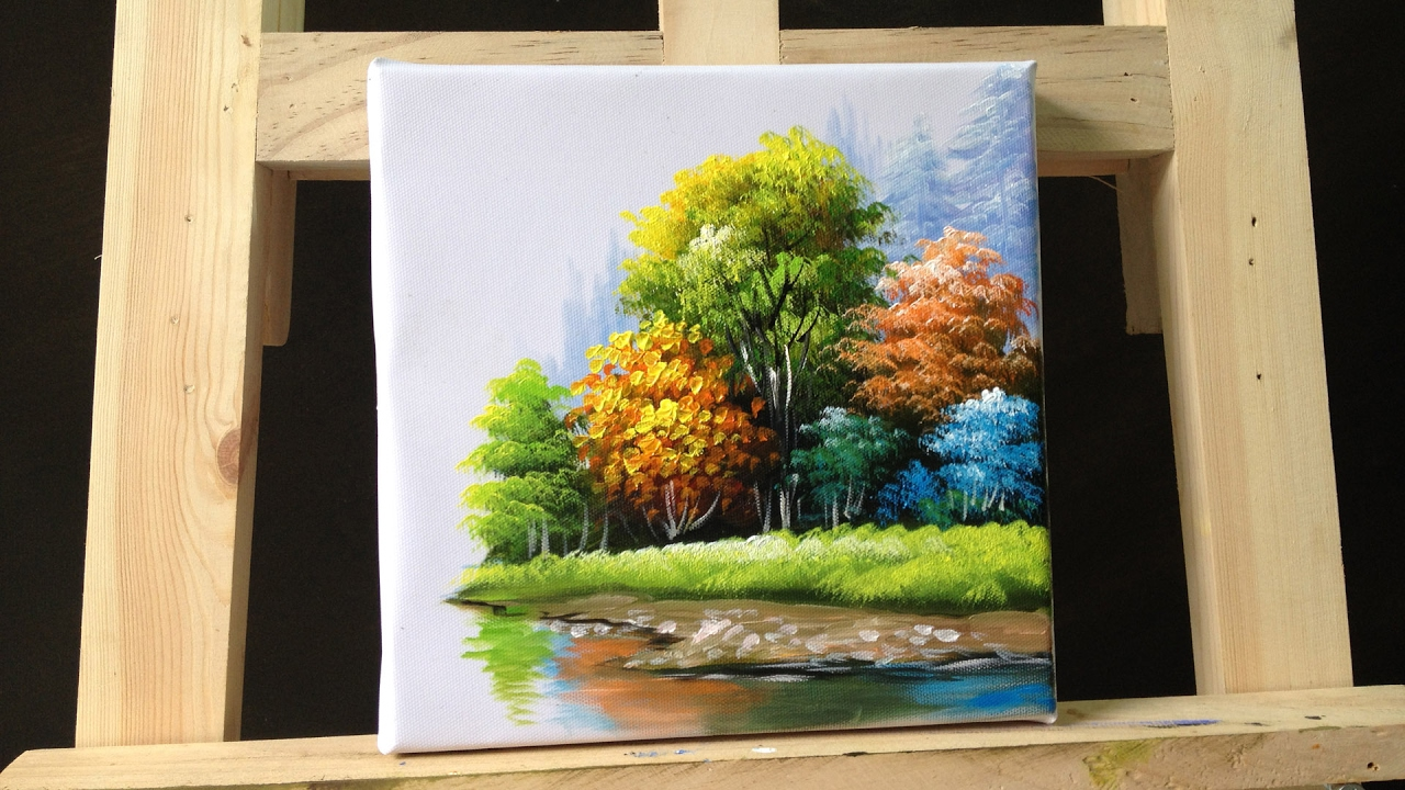 How to paint trees and bushes in acrylics part 3  YouTube