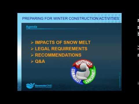 Construction Stormwater Management Forum - Preparing for Winter Construction Activities